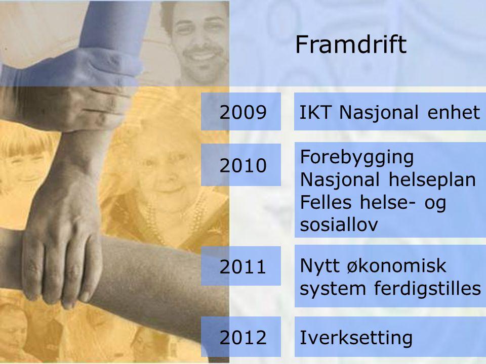 Forebygging Nasjonal helseplan Felles helse- og sosiallov Nytt økonomisk system ferdigstilles Iverksetting 2009 2010 IKT Nasjonal enhet 2011 2012 Framdrift