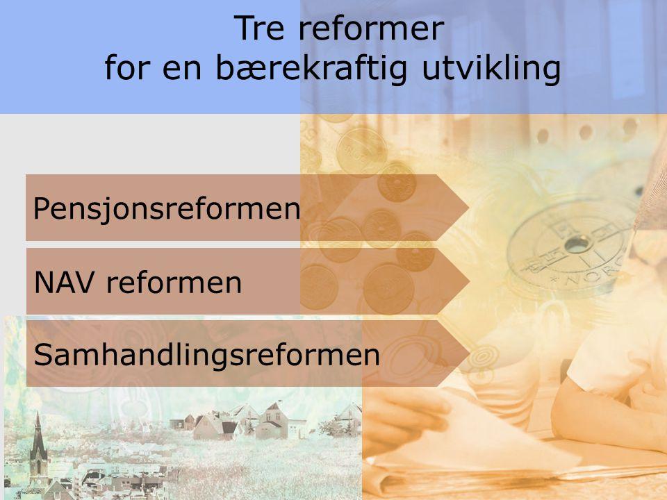5 Tre reformer for en bærekraftig utvikling Pensjonsreformen NAV reformen Samhandlingsreformen