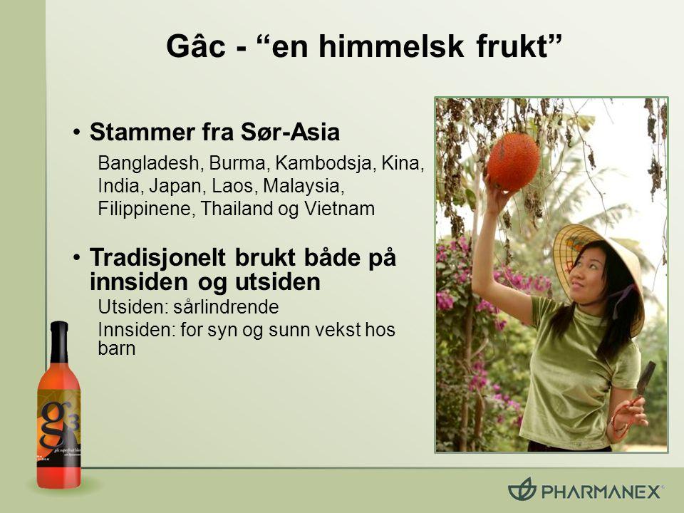 """Gâc - """"en himmelsk frukt"""" Stammer fra Sør-Asia Bangladesh, Burma, Kambodsja, Kina, India, Japan, Laos, Malaysia, Filippinene, Thailand og Vietnam Trad"""