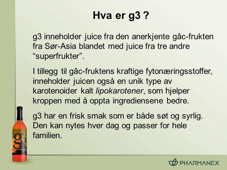 """Hva er g3 ? g3 inneholder juice fra den anerkjente gâc-frukten fra Sør-Asia blandet med juice fra tre andre """"superfrukter"""". I tillegg til gâc-fruktens"""