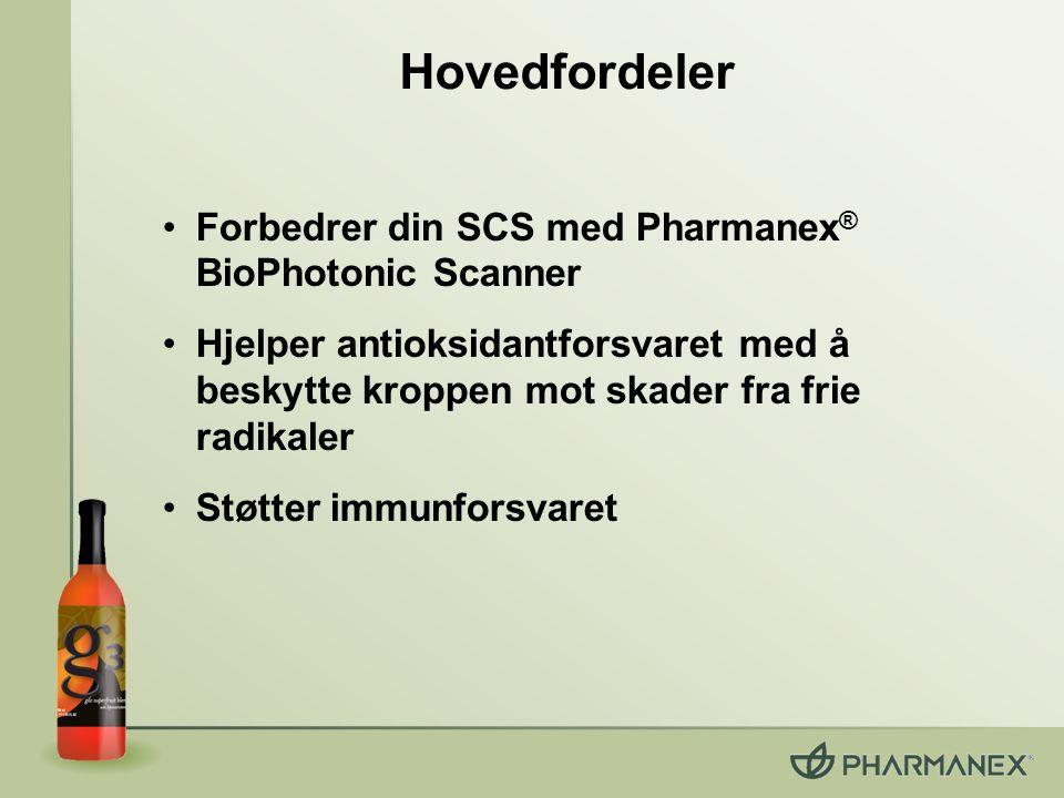 Forbedrer din SCS med Pharmanex ® BioPhotonic Scanner Hjelper antioksidantforsvaret med å beskytte kroppen mot skader fra frie radikaler Støtter immun