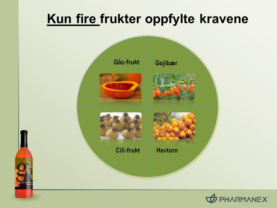 Kun fire frukter oppfylte kravene Gâc-frukt Gojibær Cili-frukt Havtorn