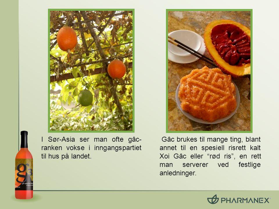Gâc inneholder lycopen, betakaroten og E- vitamin, som alle er fordelaktige antioksidanter.