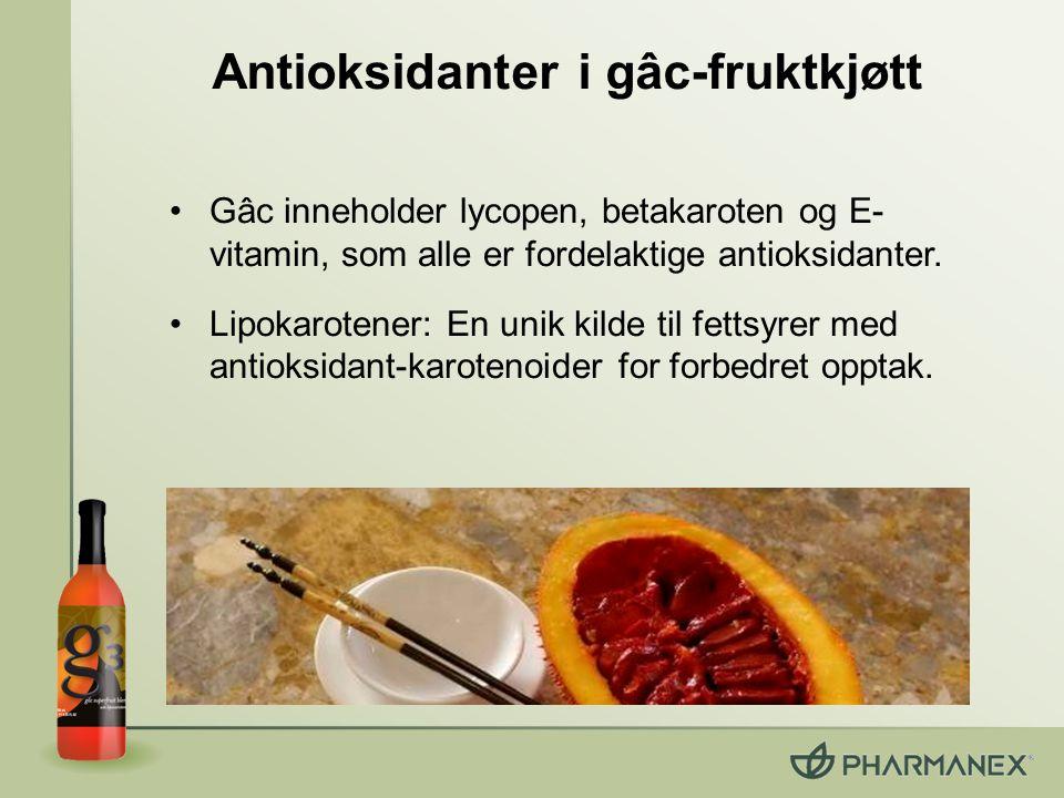 Lipokarotener: Unik tilveiebringelse gâc-frukt & havtorn: –Inneholder fettsyrer (unikt for frukt) –karotenoider & E-vitamin forhåndsoppløst i fettsyrer Lipokarotener: en matrise av fettsyrer med karotenoider –40 % bedre opptak av plasma* –55 % høyere SCS* *Sammenlignet med vnalige karotenoider