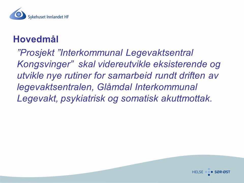 """Hovedmål """"Prosjekt """"Interkommunal Legevaktsentral Kongsvinger"""" skal videreutvikle eksisterende og utvikle nye rutiner for samarbeid rundt driften av l"""