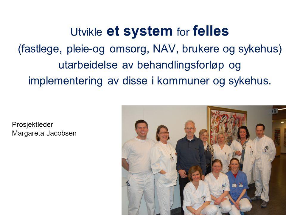 Utvikle et system for felles (fastlege, pleie-og omsorg, NAV, brukere og sykehus) utarbeidelse av behandlingsforløp og implementering av disse i kommu