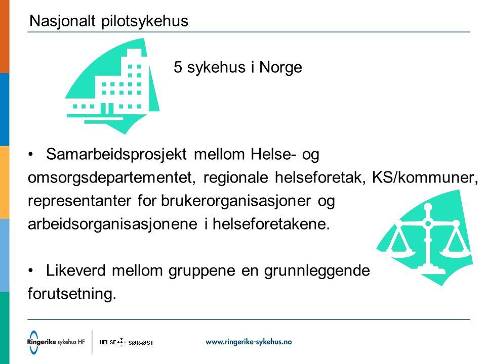 Nasjonalt pilotsykehus 5 sykehus i Norge Samarbeidsprosjekt mellom Helse- og omsorgsdepartementet, regionale helseforetak, KS/kommuner, representanter