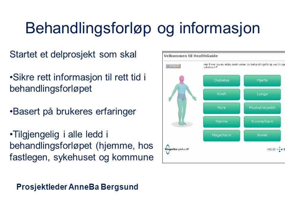 Behandlingsforløp og informasjon Startet et delprosjekt som skal Sikre rett informasjon til rett tid i behandlingsforløpet Basert på brukeres erfaring
