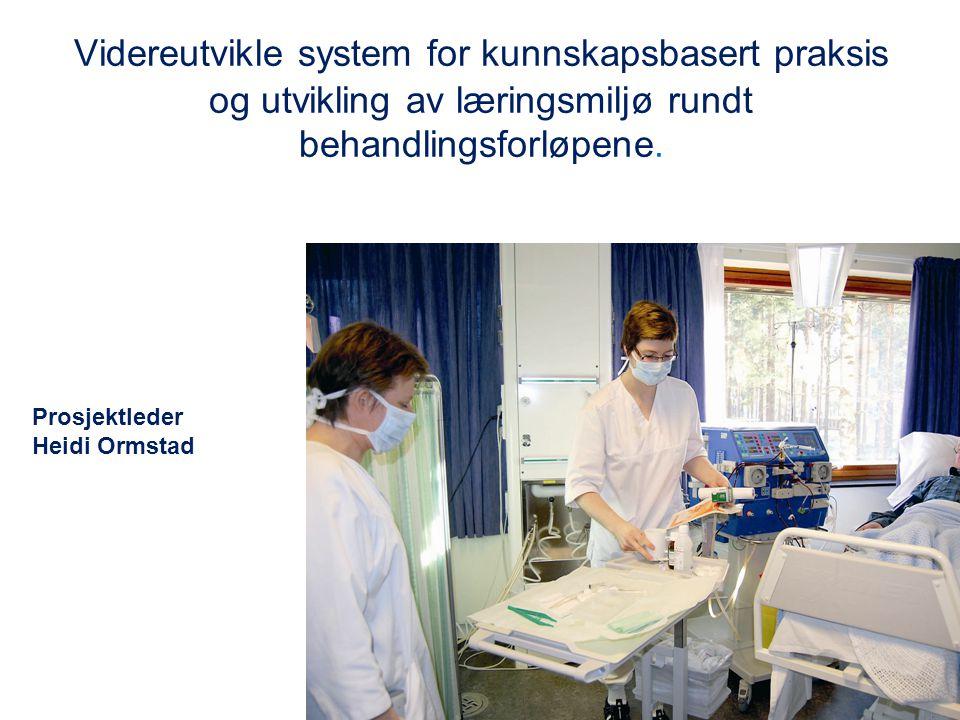Videreutvikle system for kunnskapsbasert praksis og utvikling av læringsmiljø rundt behandlingsforløpene. Prosjektleder Heidi Ormstad