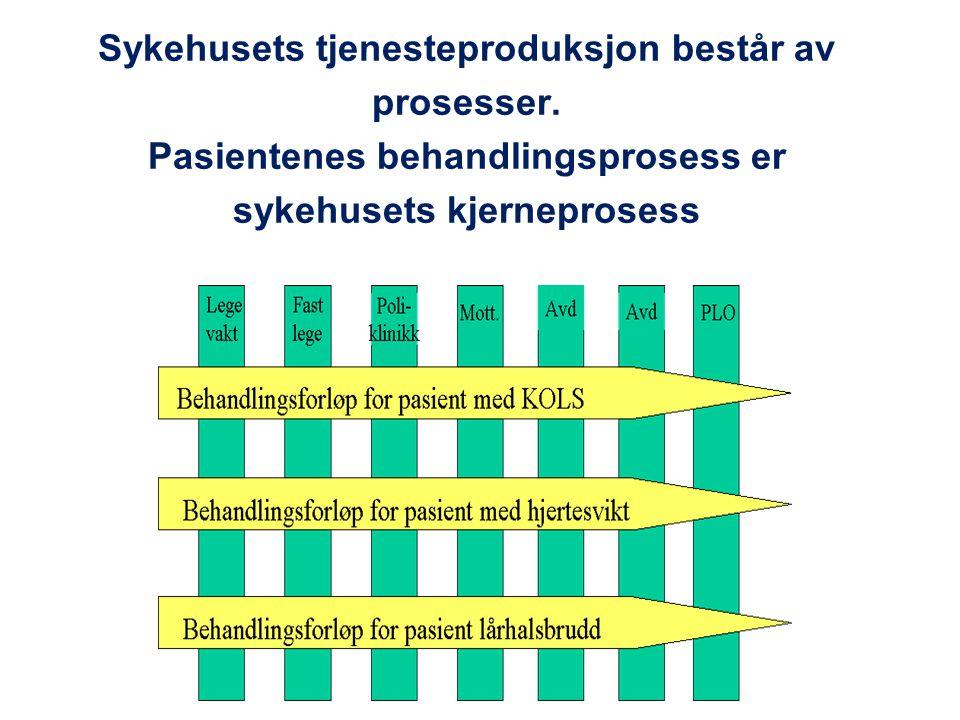 Sykehusets tjenesteproduksjon består av prosesser. Pasientenes behandlingsprosess er sykehusets kjerneprosess