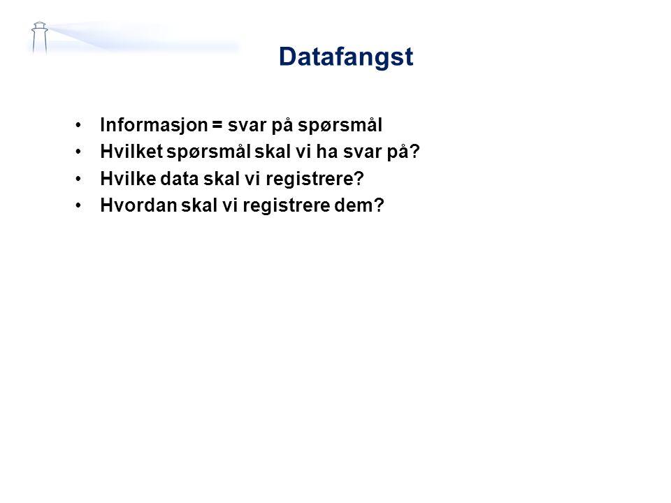 Datafangst Informasjon = svar på spørsmål Hvilket spørsmål skal vi ha svar på.