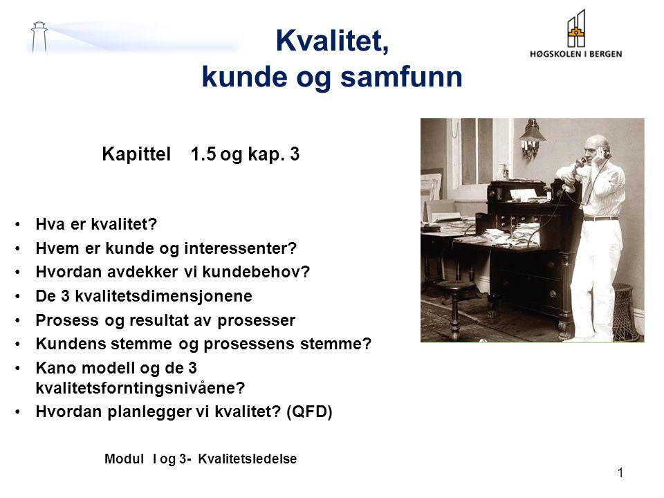 Kvalitet, kunde og samfunn Kapittel 1.5 og kap.3 Hva er kvalitet.