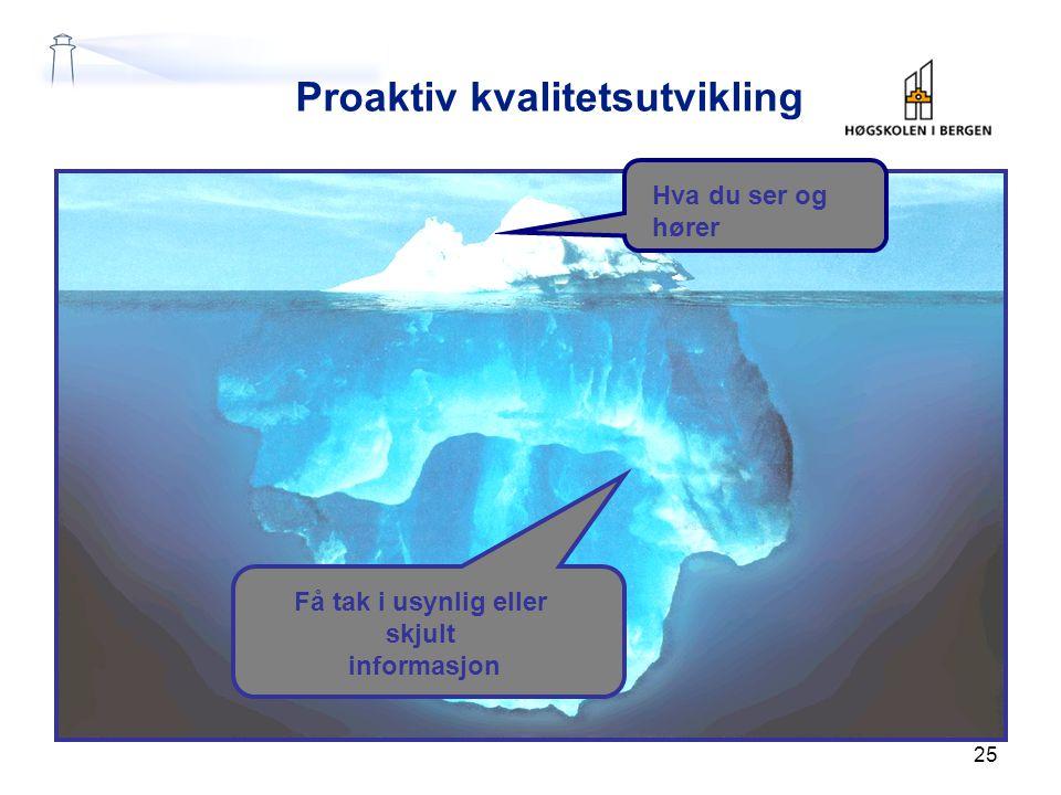 Proaktiv kvalitetsutvikling Hva du ser og hører Få tak i usynlig eller skjult informasjon 25