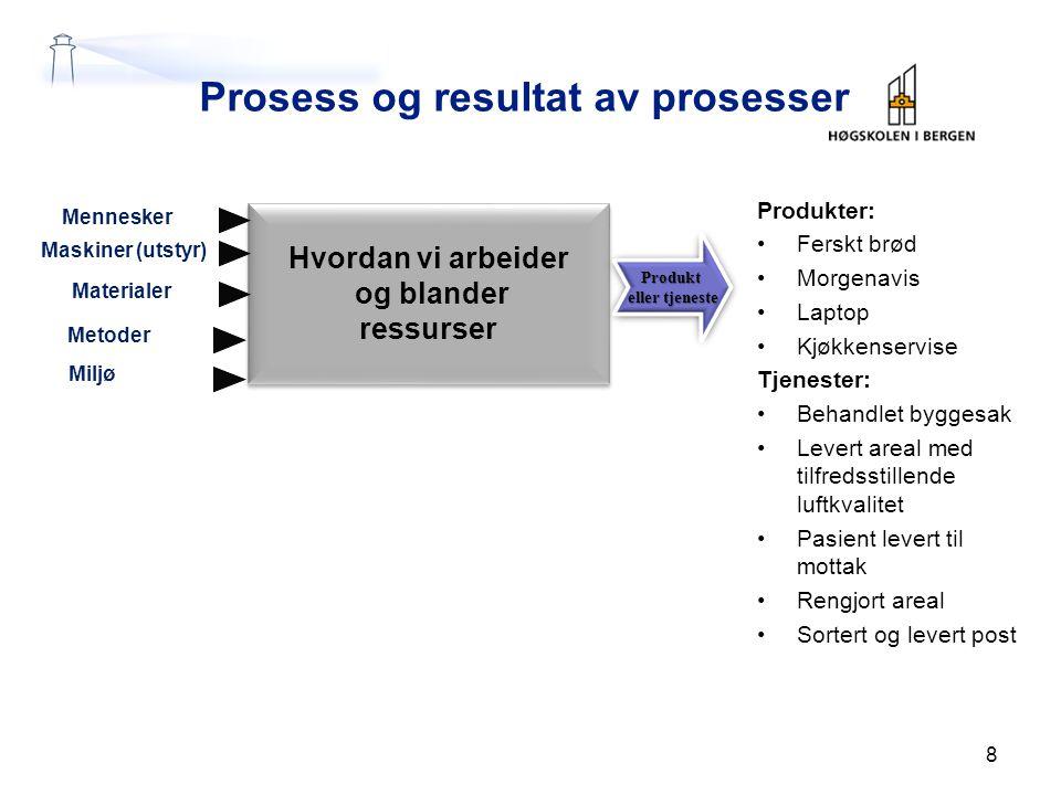 Prosess og resultat av prosesser Produkter: Ferskt brød Morgenavis Laptop Kjøkkenservise Tjenester: Behandlet byggesak Levert areal med tilfredsstille