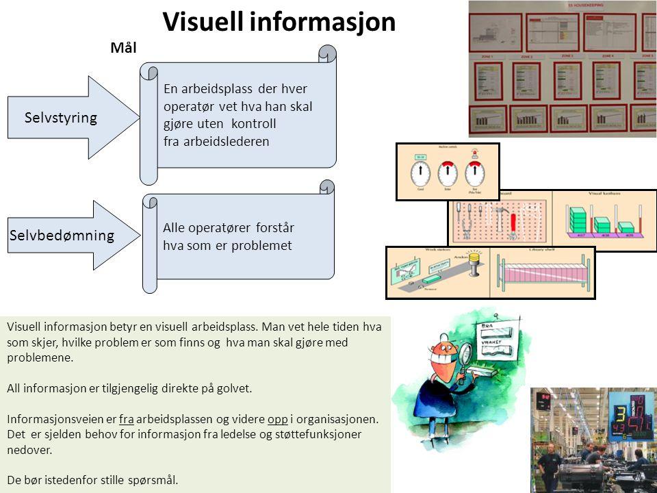 Visuell informasjon Alle operatører forstår hva som er problemet Selvstyring Selvbedømning En arbeidsplass der hver operatør vet hva han skal gjøre ut