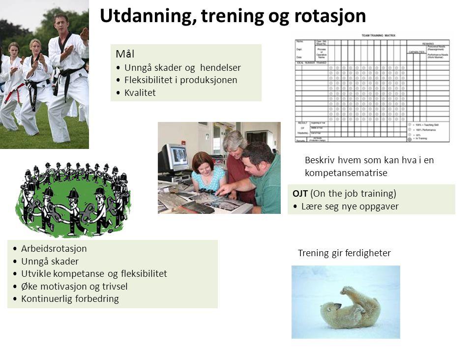Utdanning, trening og rotasjon Mål Unngå skader og hendelser Fleksibilitet i produksjonen Kvalitet Trening gir ferdigheter Beskriv hvem som kan hva i