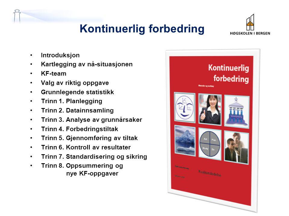 Kontinuerlig forbedring Introduksjon Kartlegging av nå-situasjonen KF-team Valg av riktig oppgave Grunnlegende statistikk Trinn 1. Planlegging Trinn 2