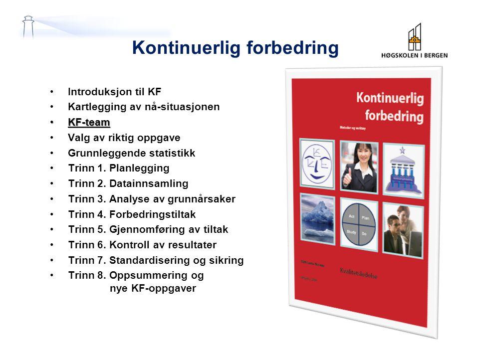 Kontinuerlig forbedring Introduksjon til KF Kartlegging av nå-situasjonen KF-teamKF-team Valg av riktig oppgave Grunnleggende statistikk Trinn 1.