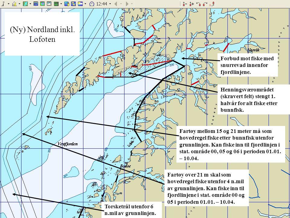 (Ny) Nordland inkl. Lofoten Fartøy mellom 15 og 21 meter må som hovedregel fiske etter bunnfisk utenfor grunnlinjen. Kan fiske inn til fjordlinjen i s