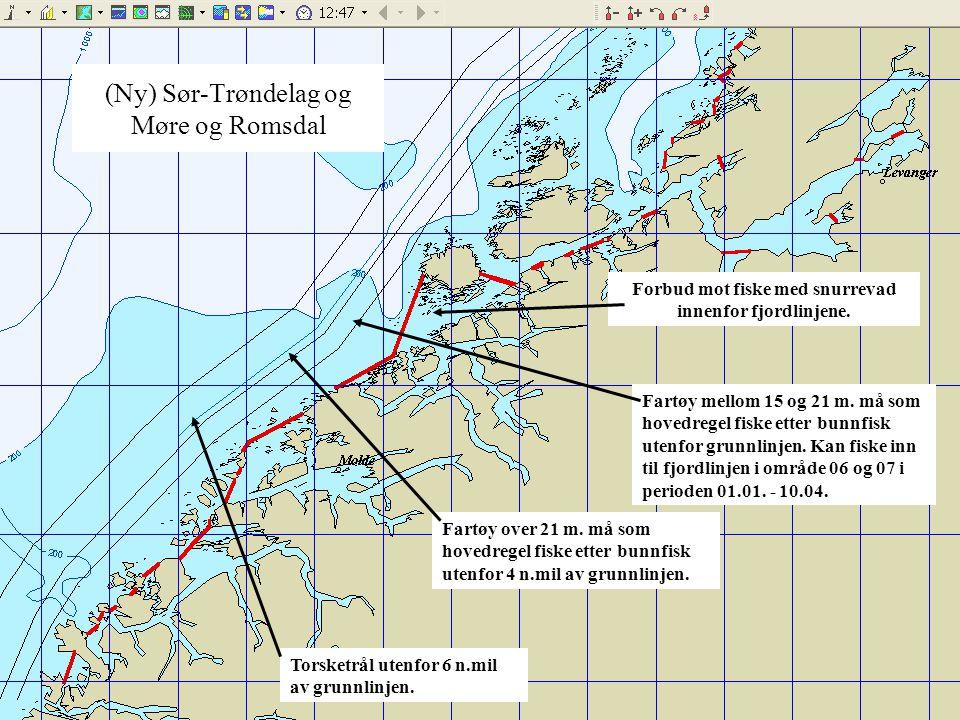 (Ny) Sør-Trøndelag og Møre og Romsdal Fartøy mellom 15 og 21 m. må som hovedregel fiske etter bunnfisk utenfor grunnlinjen. Kan fiske inn til fjordlin