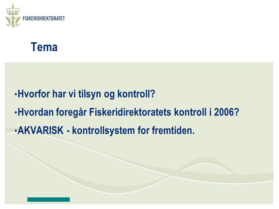 Tema Hvorfor har vi tilsyn og kontroll? Hvordan foregår Fiskeridirektoratets kontroll i 2006? AKVARISK - kontrollsystem for fremtiden.