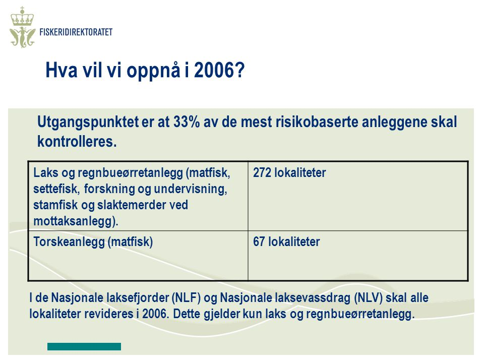 Fokusområde På de ulike kontrollene vil fokus variere, men hovedfokus for 2006 vil være på risikoområdene: Rømning og faktorer som påvirker risiko for rømning.