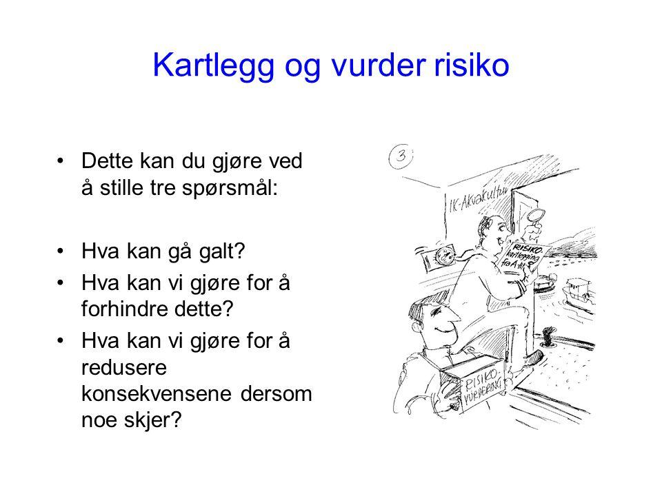 Kartlegg og vurder risiko Dette kan du gjøre ved å stille tre spørsmål: Hva kan gå galt? Hva kan vi gjøre for å forhindre dette? Hva kan vi gjøre for