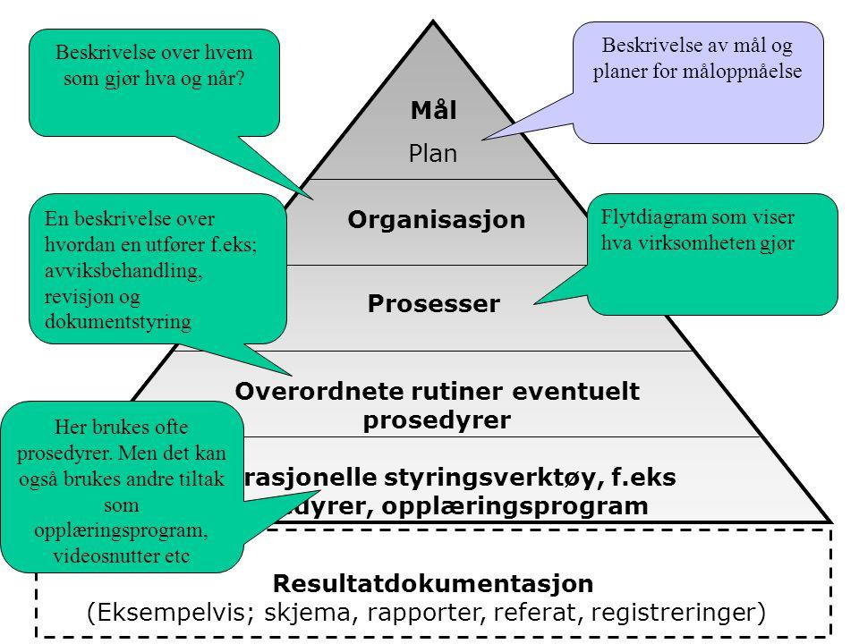 Interkontrollsystemet kan bygges opp på følgende måte: NrDokumentKrav 1.Mål og plan – Her beskriver virksomhetens sitt mål og planarbeid tilknyttet internkontrollarbeidet.