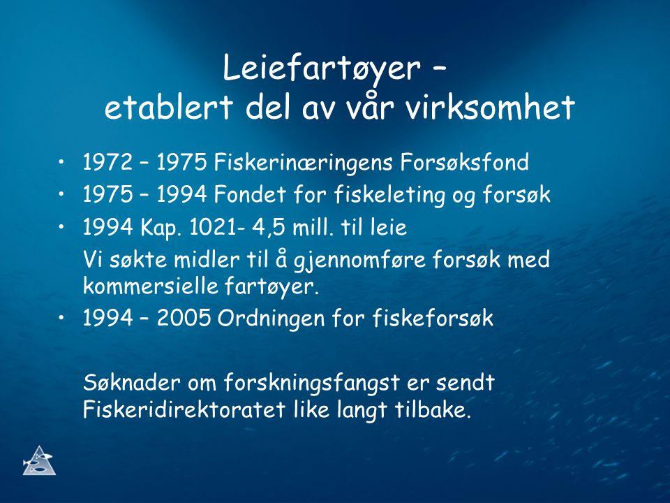 Leiefartøyer – etablert del av vår virksomhet 1972 – 1975 Fiskerinæringens Forsøksfond 1975 – 1994 Fondet for fiskeleting og forsøk 1994 Kap.