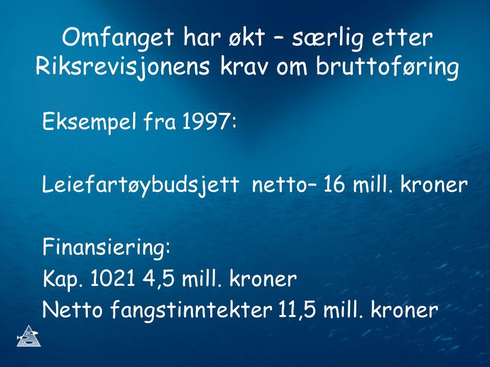 Omfanget har økt – særlig etter Riksrevisjonens krav om bruttoføring Eksempel fra 1997: Leiefartøybudsjett netto– 16 mill.