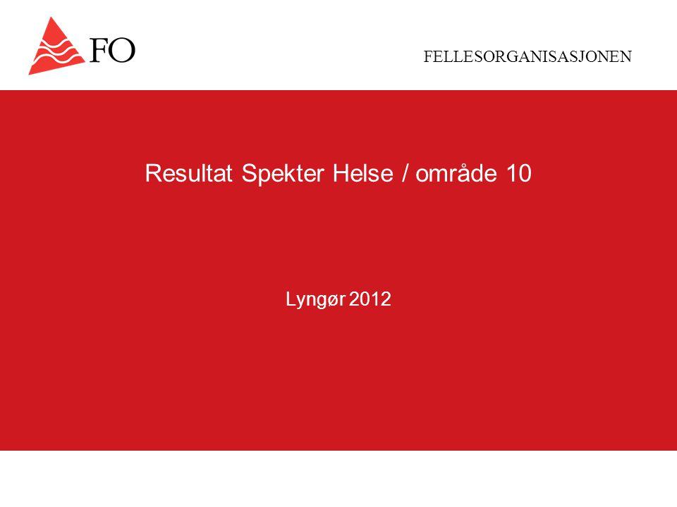 FELLESORGANISASJONEN Resultat Spekter Helse / område 10 Lyngør 2012