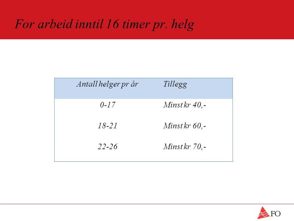 For arbeid som samlet overstiger 16 timer eller mer pr helg: Antall helger pr årTillegg 0-17Minst kr 50,- 18-21Minst kr 65,- 22-26Minst kr 75,-
