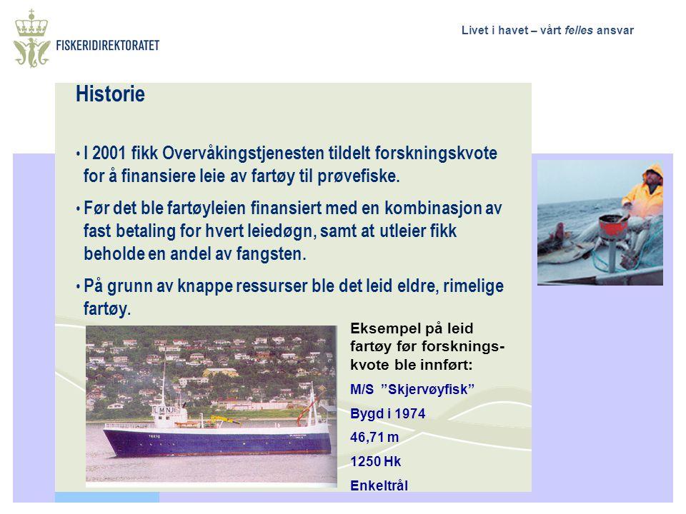 Livet i havet – vårt felles ansvar Historie I 2001 fikk Overvåkingstjenesten tildelt forskningskvote for å finansiere leie av fartøy til prøvefiske. F