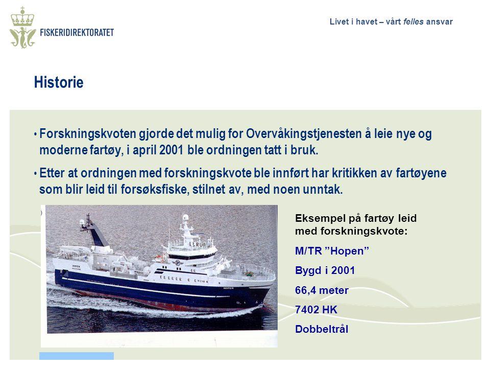 Livet i havet – vårt felles ansvar Historie Forskningskvoten gjorde det mulig for Overvåkingstjenesten å leie nye og moderne fartøy, i april 2001 ble