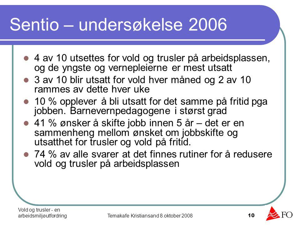 Vold og trusler - en arbeidsmiljøutfordringTemakafe Kristiansand 8.oktober 2008 10 4 av 10 utsettes for vold og trusler på arbeidsplassen, og de yngst