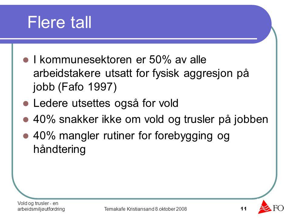 Vold og trusler - en arbeidsmiljøutfordringTemakafe Kristiansand 8.oktober 2008 11 Flere tall I kommunesektoren er 50% av alle arbeidstakere utsatt fo