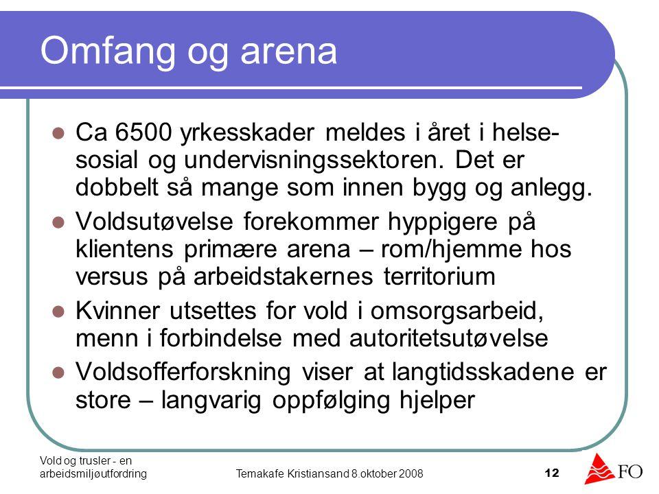 Vold og trusler - en arbeidsmiljøutfordringTemakafe Kristiansand 8.oktober 2008 12 Omfang og arena Ca 6500 yrkesskader meldes i året i helse- sosial o