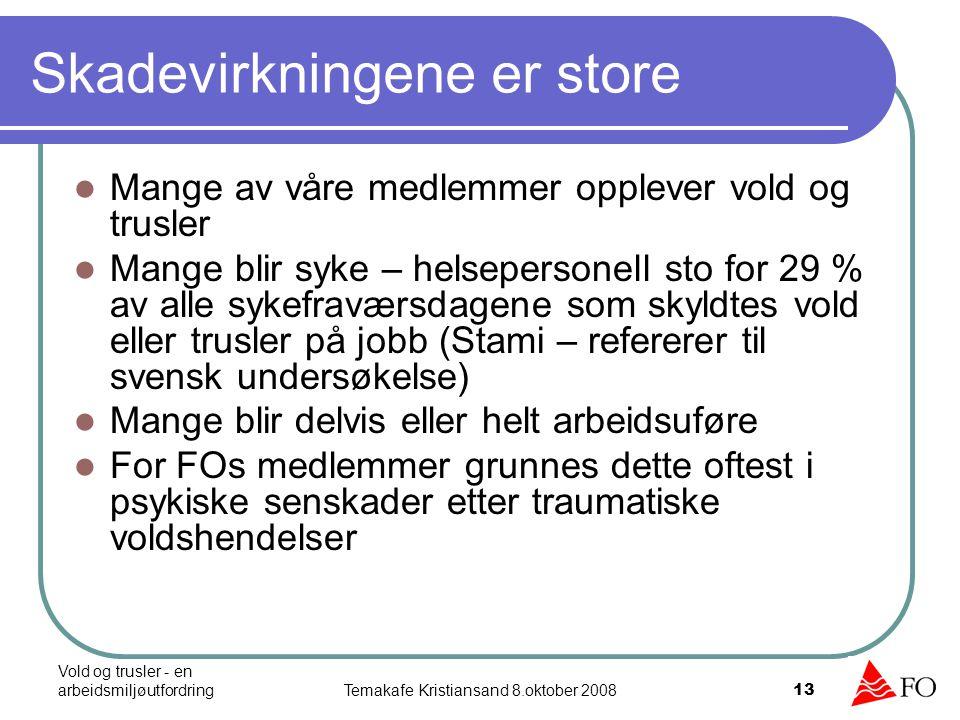 Vold og trusler - en arbeidsmiljøutfordringTemakafe Kristiansand 8.oktober 2008 14 Vanlige psykiske skadevirkninger Søvnløshet, hodepine, angst, uro, mareritt, konsentrasjonsvansker, hukommelsesproblemer, depresjon, fremmedfrykt, handlingslammelse, uttrygghet, redsel, skyldfølelse, isolasjon, aggresjon, uttilstrekkelighetsfølelse, nevroser og depresjoner, utbrenthet, maktesløshet og stress HUSK DET ER NORMALT Å REAGERE PÅ EN UNORMAL HENDELSE