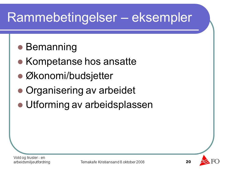 Vold og trusler - en arbeidsmiljøutfordringTemakafe Kristiansand 8.oktober 2008 20 Rammebetingelser – eksempler Bemanning Kompetanse hos ansatte Økono