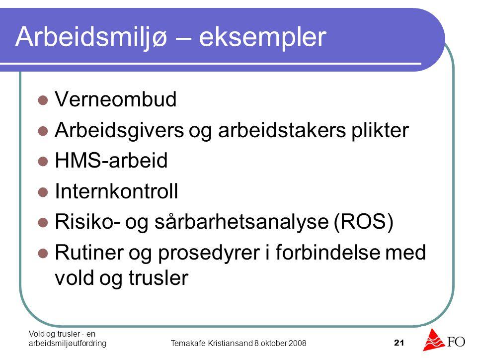 Vold og trusler - en arbeidsmiljøutfordringTemakafe Kristiansand 8.oktober 2008 22 Kartlegging – eksempel 1.