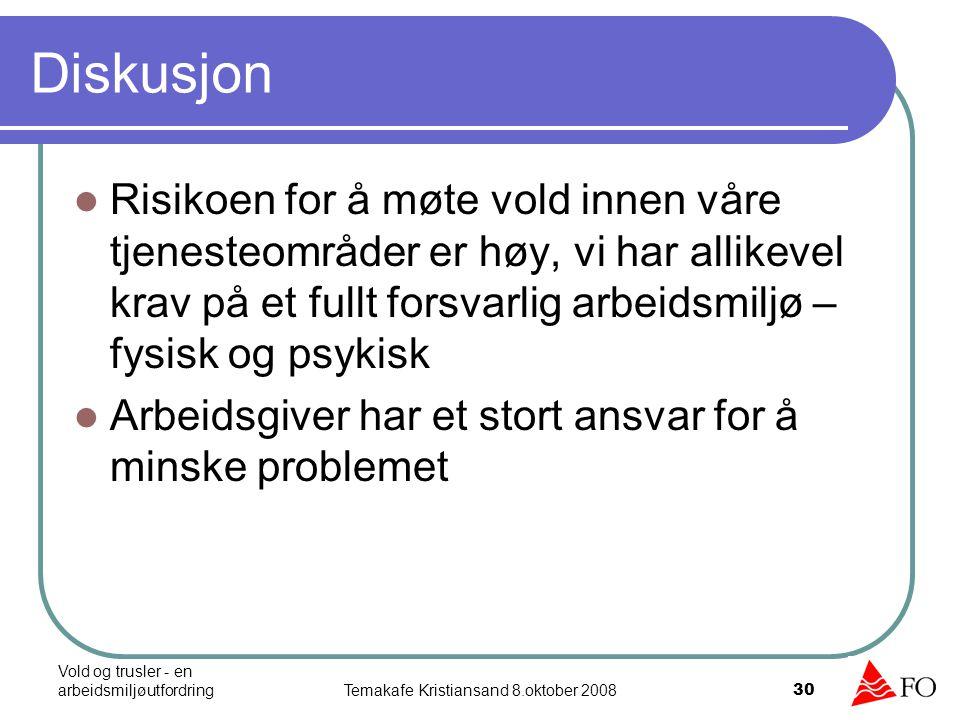 Vold og trusler - en arbeidsmiljøutfordringTemakafe Kristiansand 8.oktober 2008 30 Diskusjon Risikoen for å møte vold innen våre tjenesteområder er hø