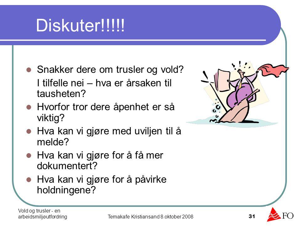 Vold og trusler - en arbeidsmiljøutfordringTemakafe Kristiansand 8.oktober 2008 31 Diskuter!!!!! Snakker dere om trusler og vold? I tilfelle nei – hva