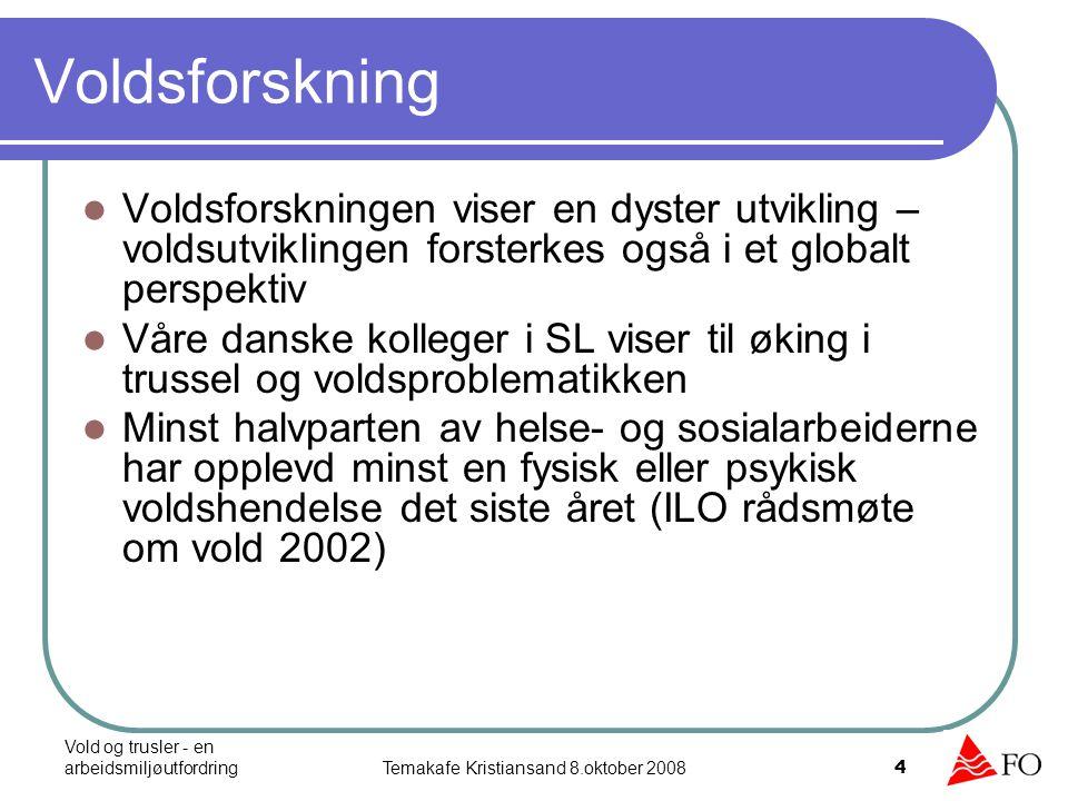 Vold og trusler - en arbeidsmiljøutfordringTemakafe Kristiansand 8.oktober 2008 4 Voldsforskning Voldsforskningen viser en dyster utvikling – voldsutv