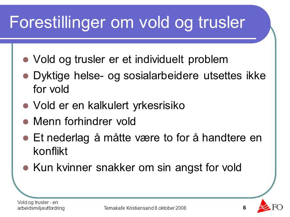 Vold og trusler - en arbeidsmiljøutfordringTemakafe Kristiansand 8.oktober 2008 5 Forestillinger om vold og trusler Vold og trusler er et individuelt