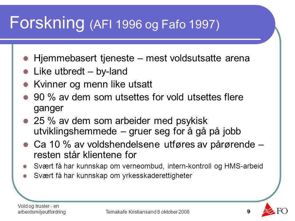 Vold og trusler - en arbeidsmiljøutfordringTemakafe Kristiansand 8.oktober 2008 10 4 av 10 utsettes for vold og trusler på arbeidsplassen, og de yngste og vernepleierne er mest utsatt 3 av 10 blir utsatt for vold hver måned og 2 av 10 rammes av dette hver uke 10 % opplever å bli utsatt for det samme på fritid pga jobben.