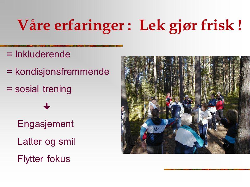 Våre erfaringer : Lek gjør frisk ! = Inkluderende = kondisjonsfremmende = sosial trening  Engasjement Latter og smil Flytter fokus