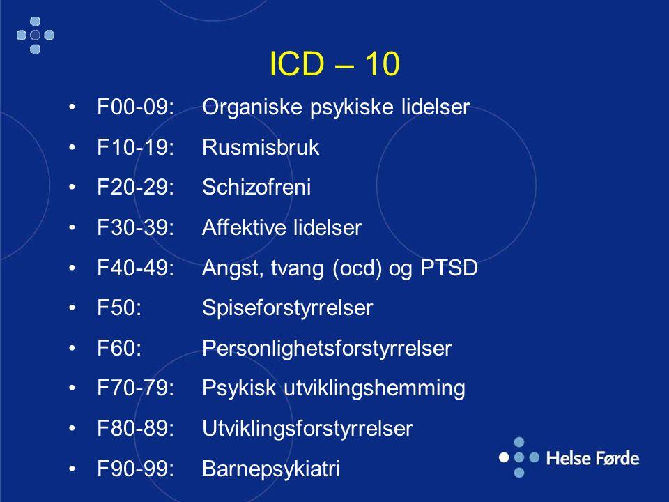 ICD – 10 F00-09:Organiske psykiske lidelser F10-19: Rusmisbruk F20-29: Schizofreni F30-39: Affektive lidelser F40-49: Angst, tvang (ocd) og PTSD F50:Spiseforstyrrelser F60:Personlighetsforstyrrelser F70-79:Psykisk utviklingshemming F80-89: Utviklingsforstyrrelser F90-99: Barnepsykiatri