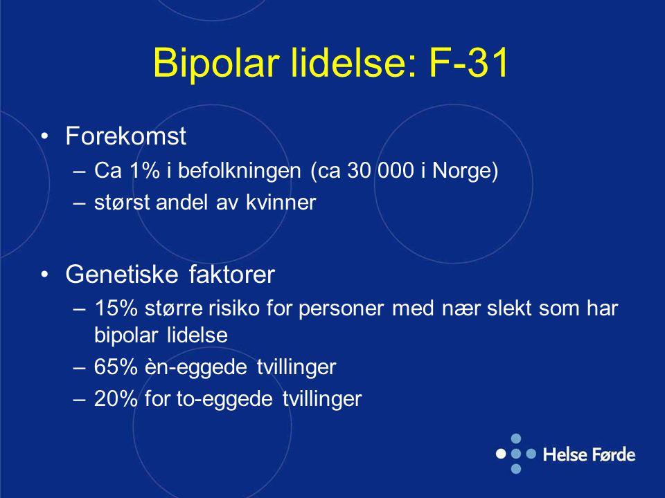 Bipolar lidelse: F-31 Forekomst –Ca 1% i befolkningen (ca 30 000 i Norge) –størst andel av kvinner Genetiske faktorer –15% større risiko for personer med nær slekt som har bipolar lidelse –65% èn-eggede tvillinger –20% for to-eggede tvillinger