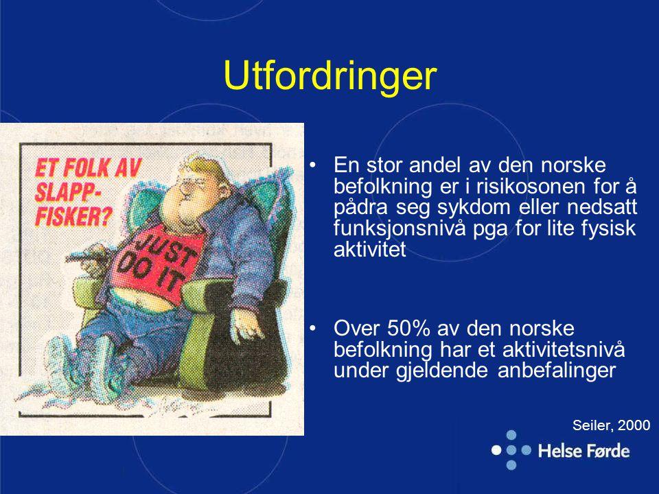 | Utfordringer En stor andel av den norske befolkning er i risikosonen for å pådra seg sykdom eller nedsatt funksjonsnivå pga for lite fysisk aktivite