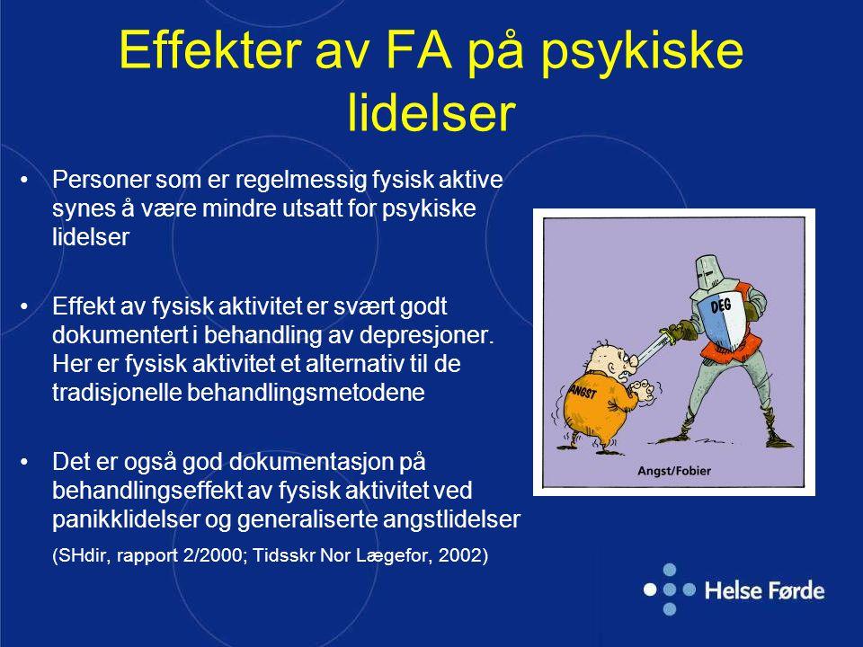 Effekter av FA på psykiske lidelser Personer som er regelmessig fysisk aktive synes å være mindre utsatt for psykiske lidelser Effekt av fysisk aktivi